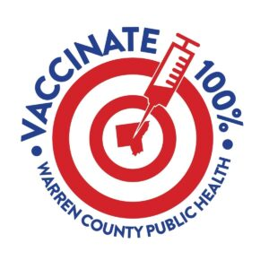 Vaccinate 100% logo with a syringe and target